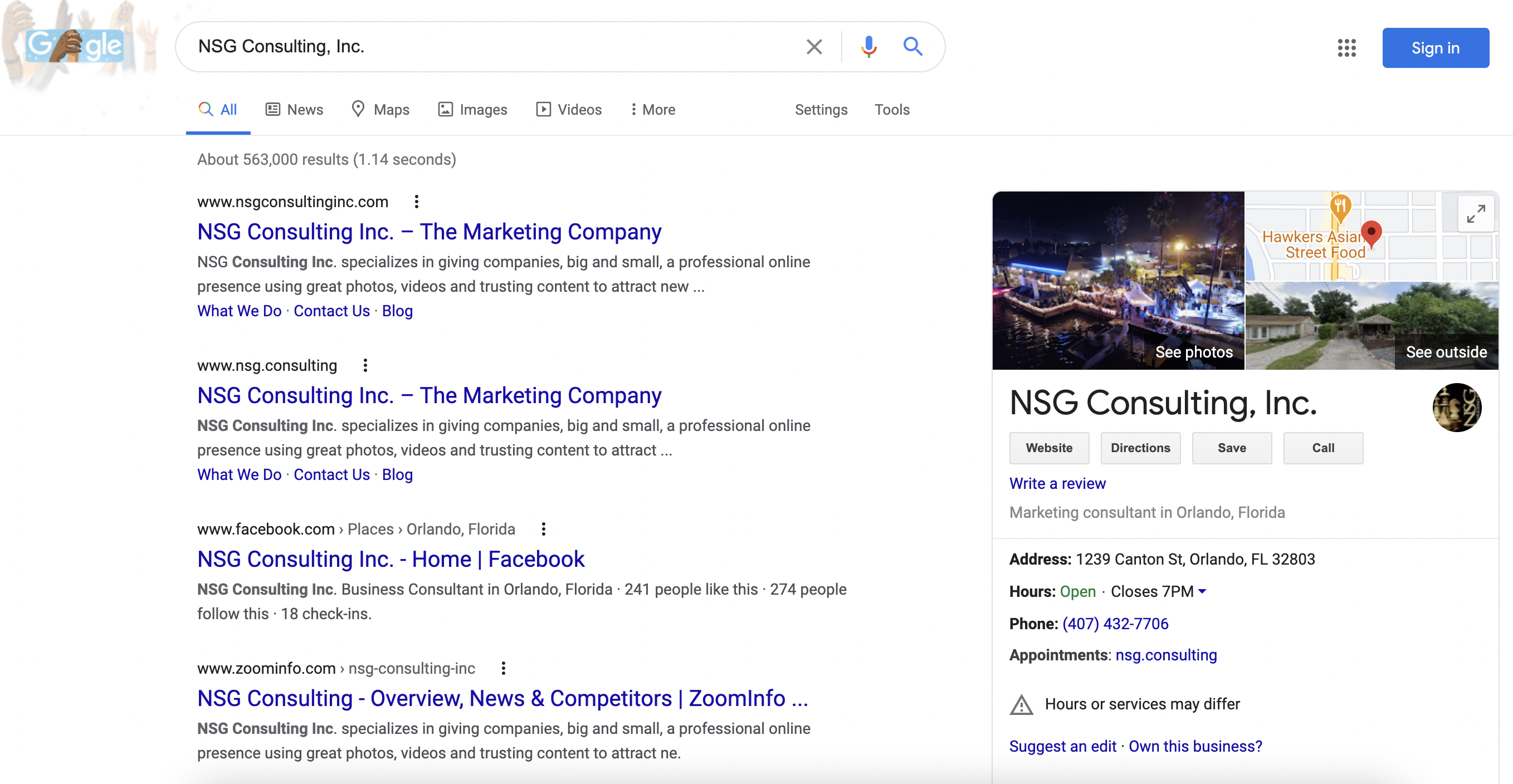 NSG Consulting Google Listing Business Marketing SEO